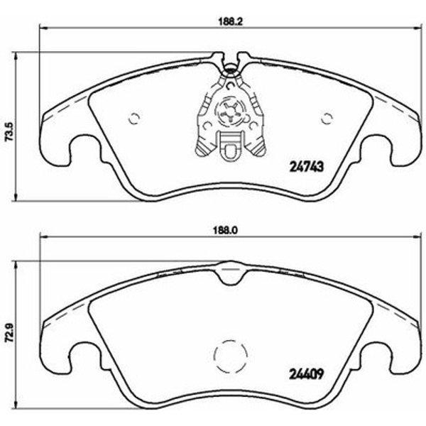 BREMBO - Kit de plaquettes de frein, frein à disque