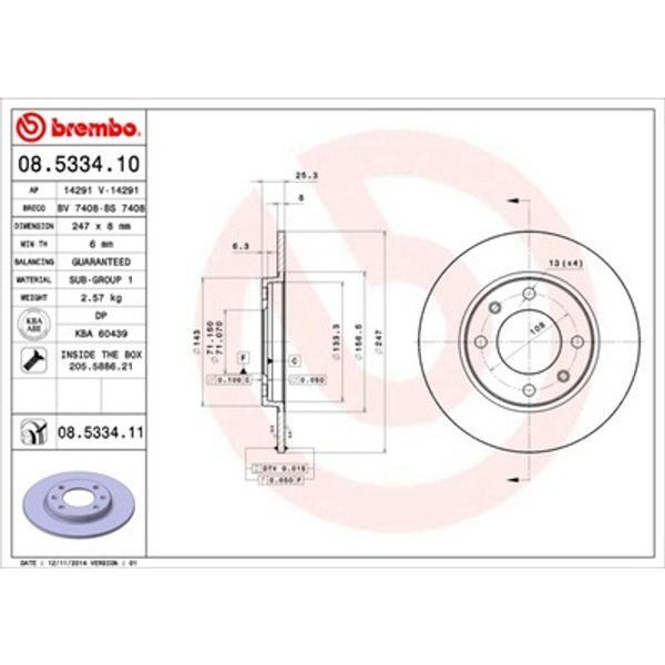 BREMBOCOATED DISC LINE, Disque de frein (08.5334.11)