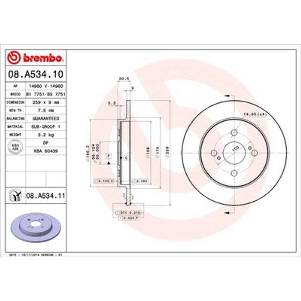 BREMBO - Disque de frein (08.A534.11)