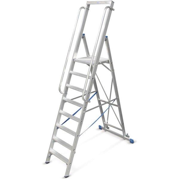 KRAUSE® Plattformleiter aus Aluminium mit großer Standplattform, 10 Stufen