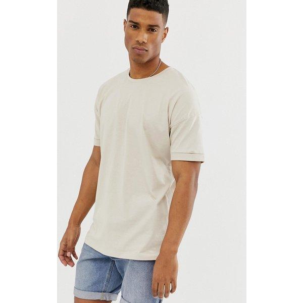 Selected Homme drop shoulder oversized t-shirt - Beige