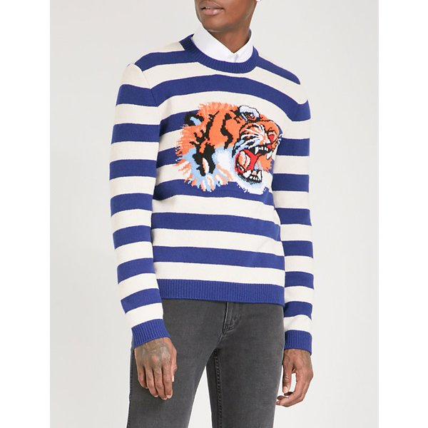 3a67745d905 GUCCI Tiger-intarsia striped wool jumper