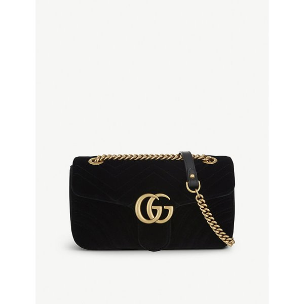 c78024cc7ab Gucci Ladies Black Marmont Velvet Shoulder Bag Small