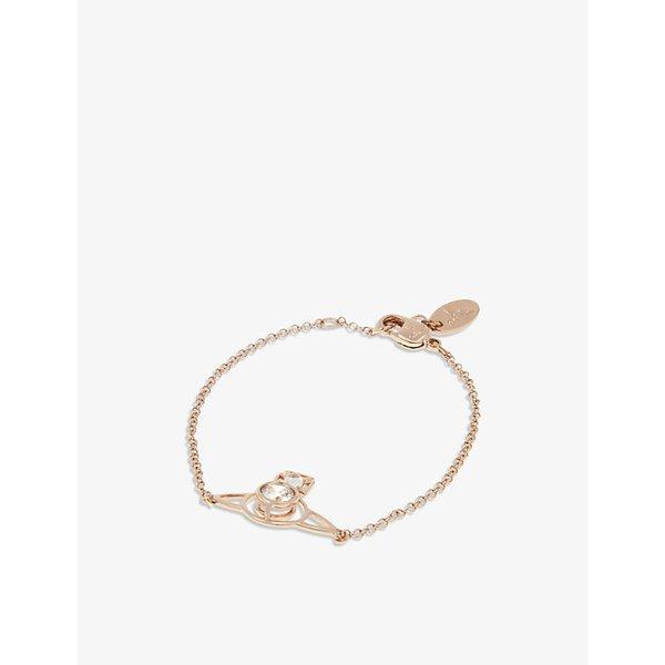 VIVIENNE WESTWOOD JEWELLERY | Vivienne Westwood Jewellery Nora Saturn Orb bracelet, Whte cubic zirc/pink gld | Goxip