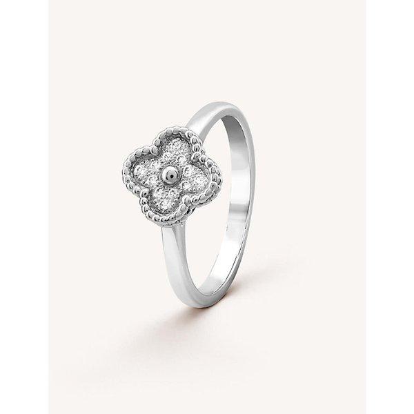 VAN CLEEF & ARPELS | Van Cleef & Arpels Sweet Alhambra white-gold and diamond ring | Goxip