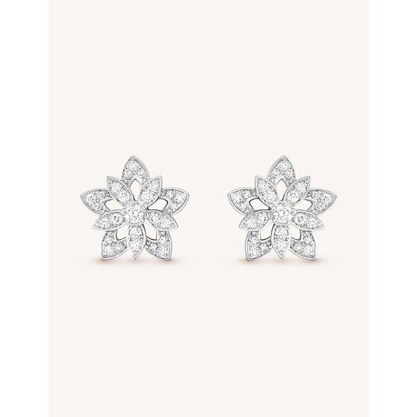 VAN CLEEF & ARPELS | Lotus Openwork white-gold and diamond earrings | Goxip