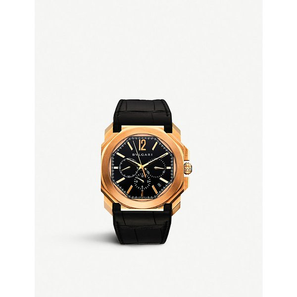 351fd21c5fe Bvlgari Octo 18ct pink-gold and leather watch
