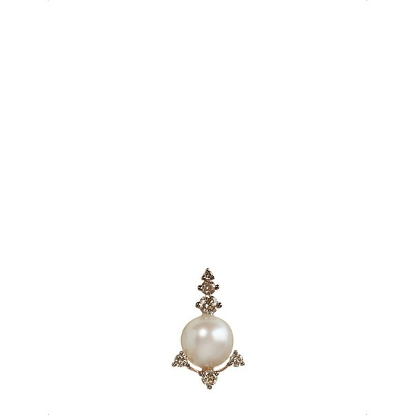 ANNOUSHKA | Annoushka 18ct rose gold, freshwater pearls and brown diamond stud earring | Goxip
