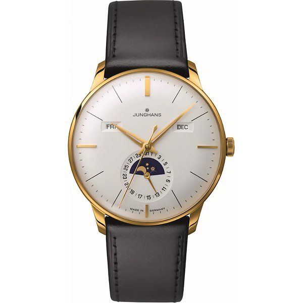 LONGINES | 027/7202.01 Meister Kalendar leather and gold-plated moon phase watch | Goxip