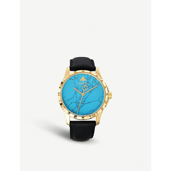 0c305d024ba GUCCI YA1264085 G-Timeless yellow-gold PVD and leather watch