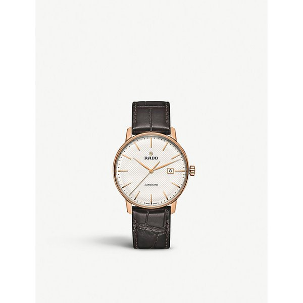 RADO | Rado R22877025 Coupole Classic Automatic rose gold-plated stainless steel and leather watch, Mens | Goxip