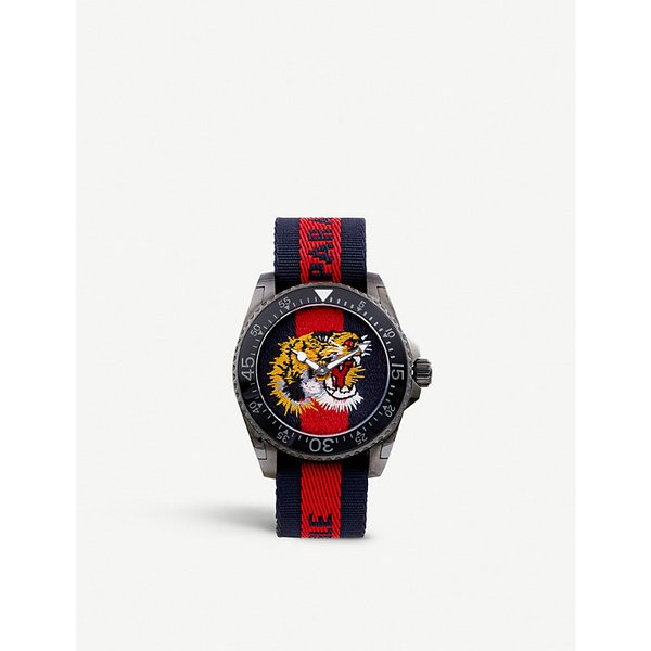GUCCI   YA136215 Gucci Dive stainless steel and nylon watch   Goxip
