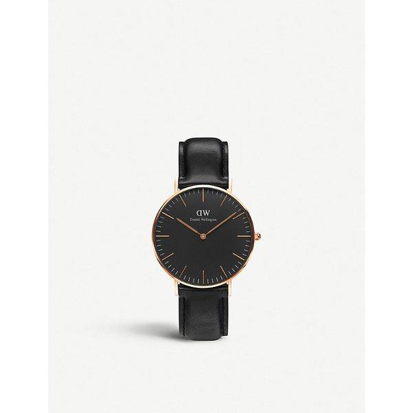 DANIEL WELLINGTON | Daniel Wellington Classic Black Sheffield leather and stainless steel watch | Goxip