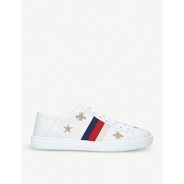 77de4cf1c99 GUCCI New Ace bee-embroidered leather trainers