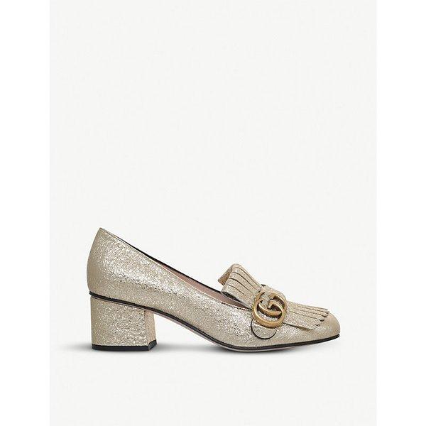 6fa42f908 GUCCI Marmont 55 metallic-leather loafers