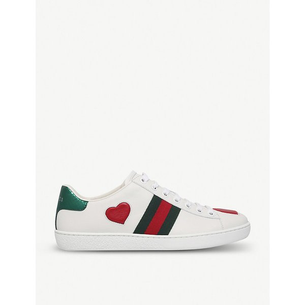 c2f227dfd37 GUCCI New Ace heart-detail leather trainers
