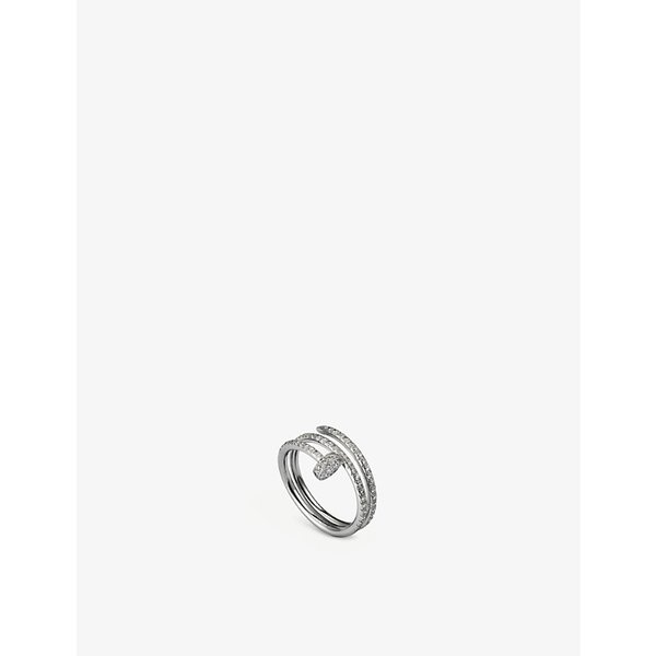 CARTIER | Juste un Clou 18ct white-gold and diamond double ring | Goxip