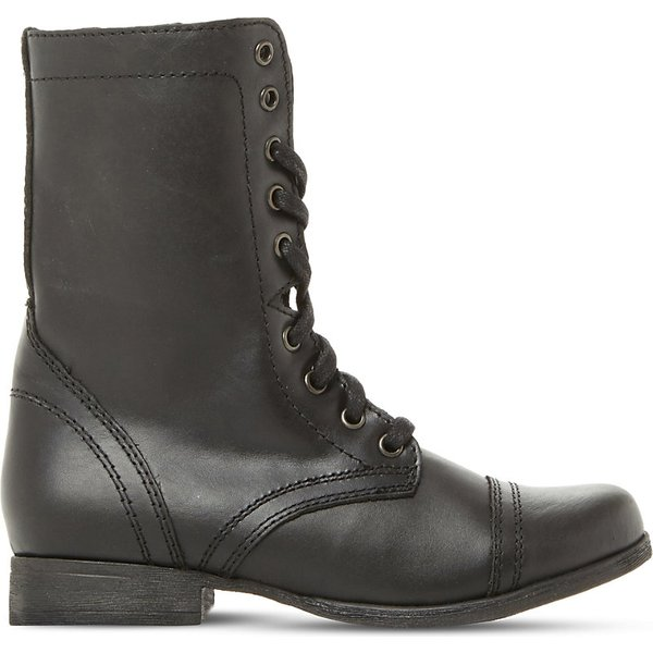 cbc74ad6d35 Steve Madden Ladies Black Classic Troopa Leather Work Boots Eur 36 ...