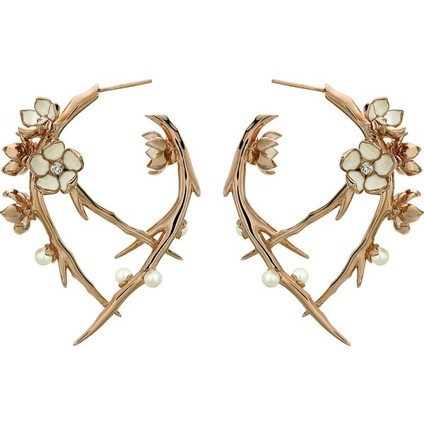 SHAUN LEANE | Shaun Leane Cherry Blossom rose-gold vermeil, ivory enamel, pearl and diamond hoop earrings | Goxip