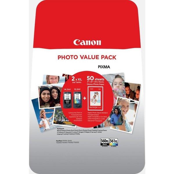 Original Canon PG-560XL/CL561XL Ink Cartridges & Photo Paper Pack