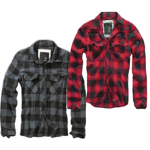 Brandit - Checkshirt - Shirt - black-grey