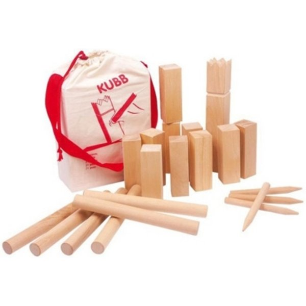 Goki Wikingerspiel Kubb, Grosse Grösse, im Baumwollbeutel 21 Teile