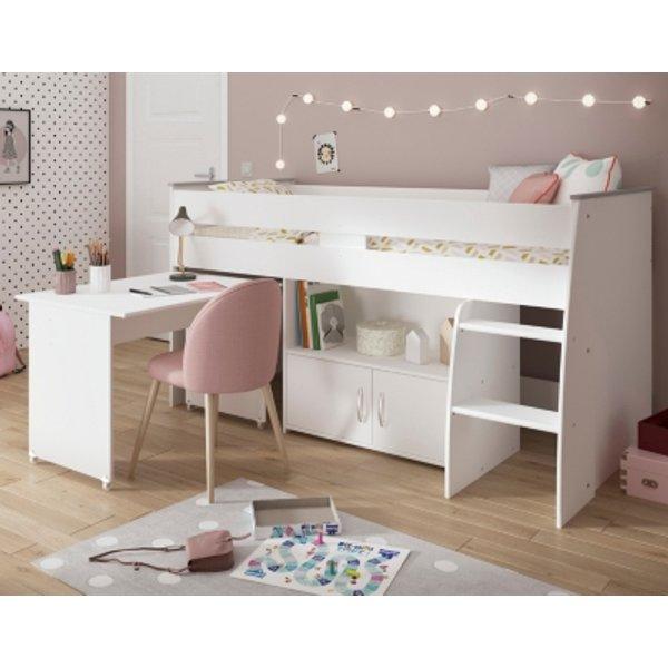 Hochbett mit Schreibtisch & Stauraum MARCELLE - 90x200cm