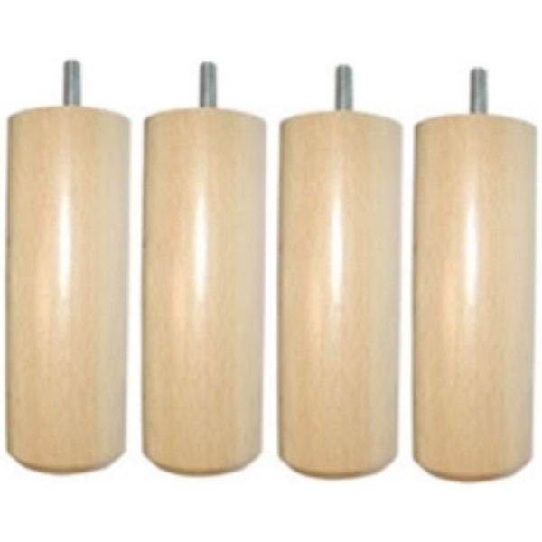 Jeu de 4 pieds cylindriques bois vernis-17 cm - 17 cm