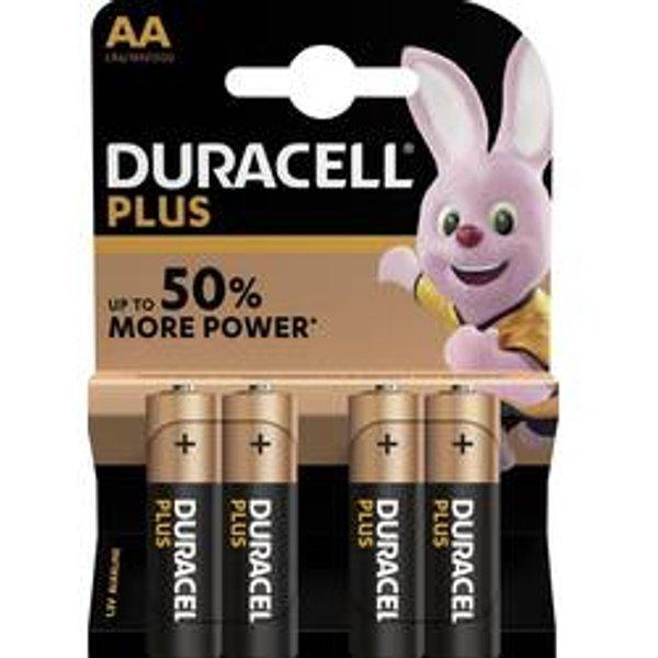 Duracell Plus Power AA Alkaline Batteries - 4 Pack