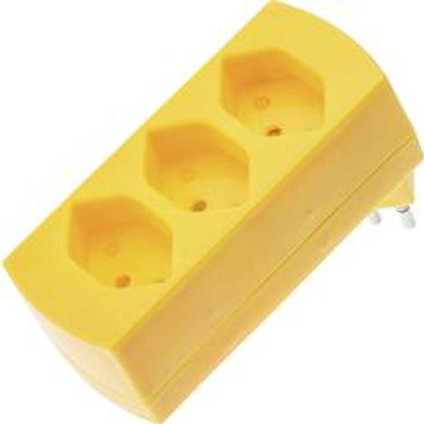 Bloc multiprise Max Hauri AG 121799 jaune 3 prises