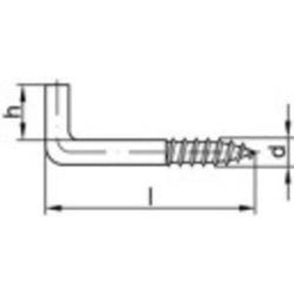 TOOLCRAFT Crochet à visser droit 25 mm Acier galvanisé 100 pc(s)