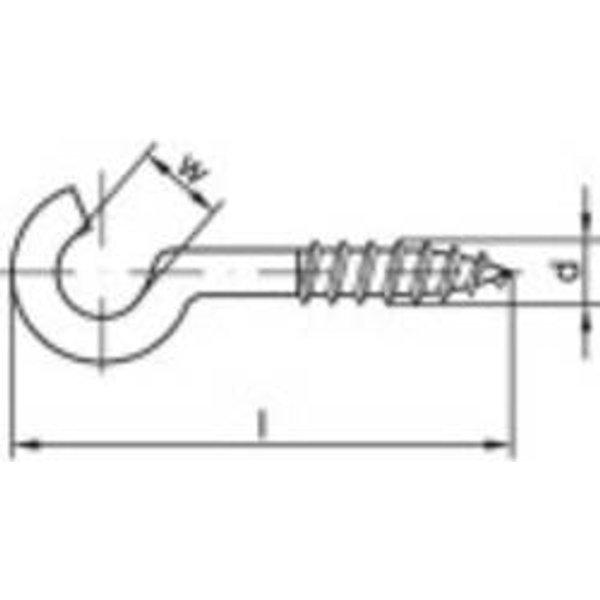 Crochet à visser courbé Q30870 - TOOLCRAFT