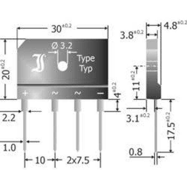 TRU Components TC-GBI25G Brückengleichrichter SIL-4 400V 25A Einphasig