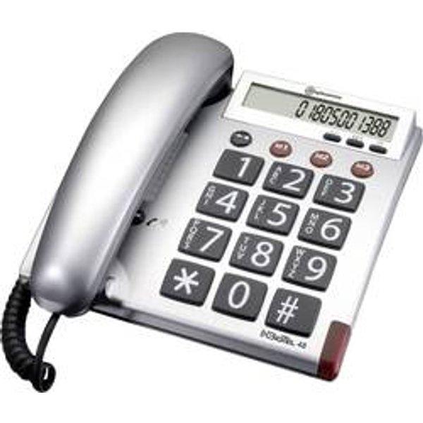 Amplicomms BigTel 48 Schnurgebundenes Seniorentelefon Optische Anrufsignalisierung Matt Silber, Grau