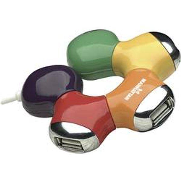 Manhattan 161053 4-port USB 2.0 extern ohne Netzteil bunt