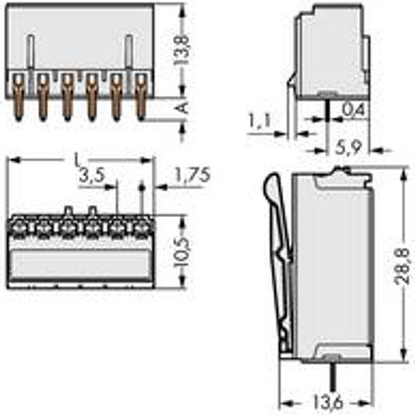 Boîtier mâle (platine) série 2091 WAGO 2091-1302 Nbr total de pôles 2 Pas: 3.50 mm 200 pc(s)