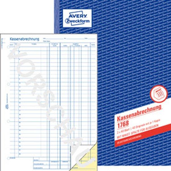 AVERY Zweckform Formularbuch , Kassenabrechnung, , A4