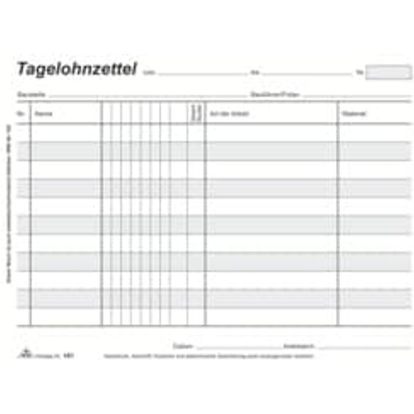 """RNK Verlag Vordruck """"Tagelohnzettel"""", Block, DIN A5 quer"""