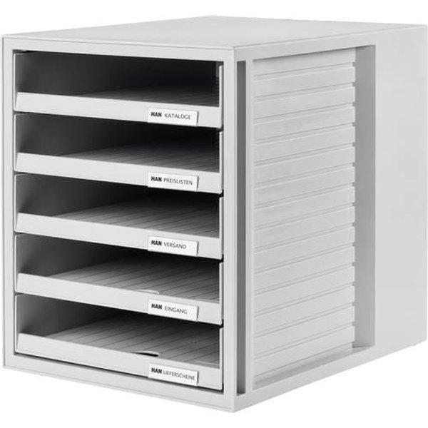 HAN 1401-11 Schubladenbox Lichtgrau DIN A4 Anzahl der Schubfächer: 5