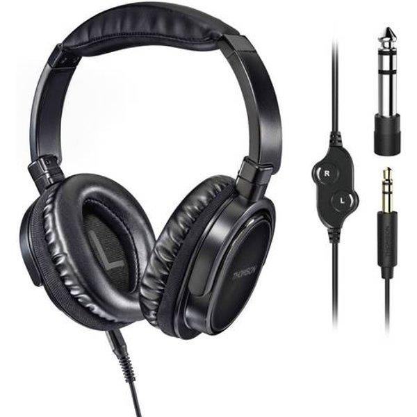 Thomson HED4508 HQ pour TV Casque supra-auriculaire circum-aural micro-casque, volume réglable, coques pivotantes noir