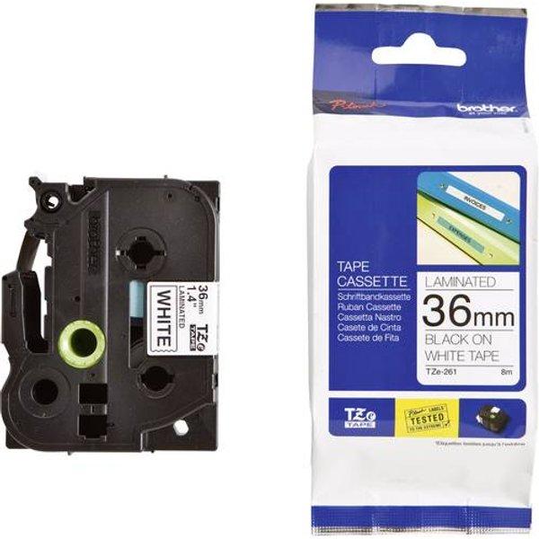 Brother TZ-261 Laminated Tape 36 mm weiß / schwarz