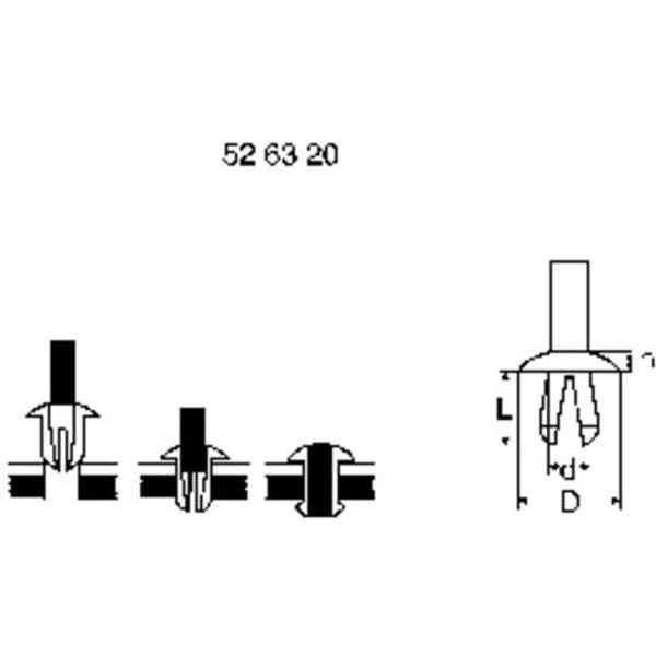 Rivet à expansion PB Fastener 201-0494-000 Ø du trou 6.3 mm Matière plastique noir 1 pc(s)