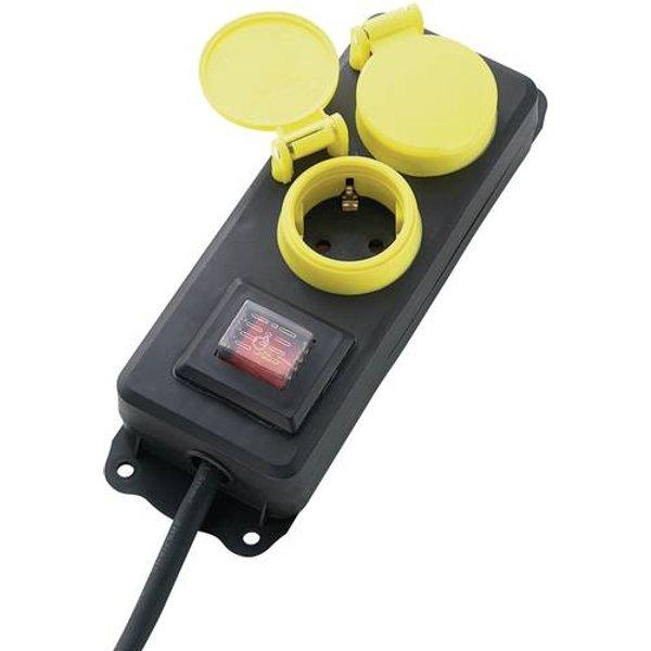 622334 Steckdosenleiste mit Schalter 2fach Schwarz, Gelb Schutzkontakt