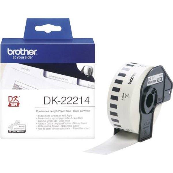Brother Etikett, endlos, DK22214, Papier, 12 mm x 30,48 m, weiß