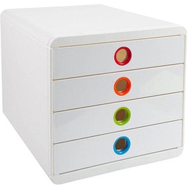 Exacompta Schubladenbox POP-BOX weiß mit bunten Grifflöchern DIN A4 mit 4 Schubladen