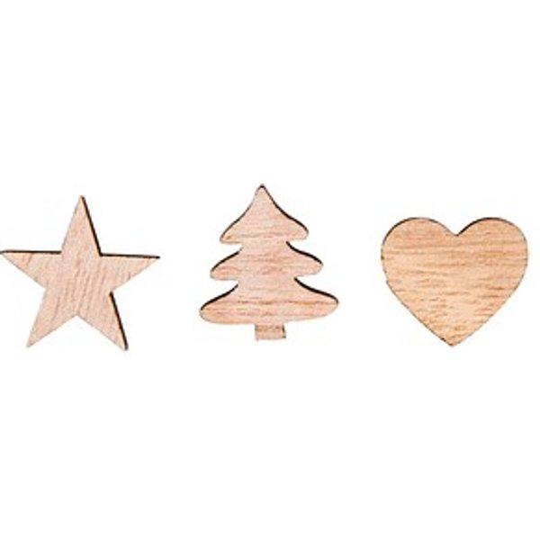 36 Rayher Holz-Streudeko Herzen, Baum, Sterne