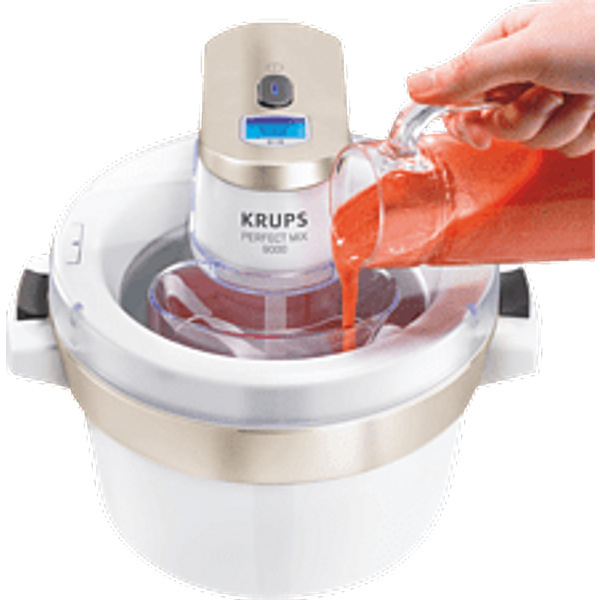 KRUPS Perfect Mix 9000 Ice Cream Maker GVS241 - Blanc - Sorbetière (Chromé/blanc)