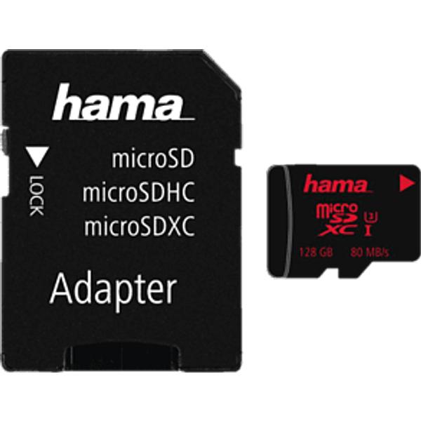 HAMA microSDXC UHS-I 80MB/s +AD 128Go Carte mémoire (Noir)
