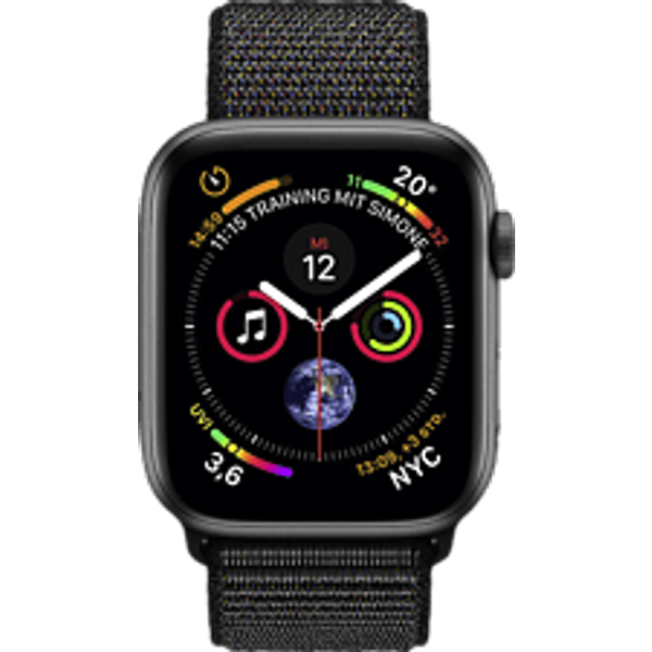 Apple Watch Serie 4 44mm GPS space gray Aluminum Black Sport Loop Smartwatch
