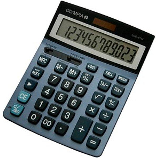 Calculatrice de bureau Olympia LCD 6112 bleu solaire, à pile(s)